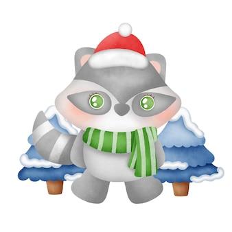 수채화 스타일에 귀여운 너구리와 크리스마스 카드.