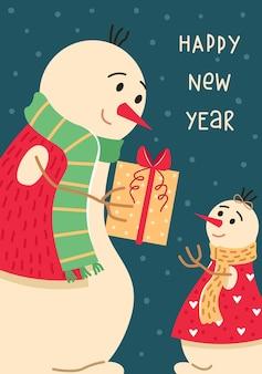 Рождественская открытка с семьей снеговиков. папа дарит дочери подарок. новогодняя открытка.