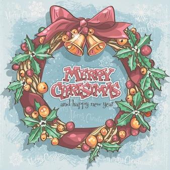 Рождественская открытка с праздничным венком и колокольчиками
