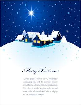 雪の中で町の夜景が描かれたクリスマスカード。ポスター、バナーまたはグリーティングカードの背景