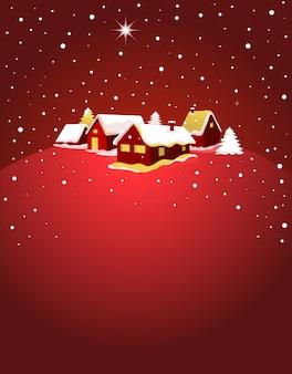 눈에 마을의 야경 크리스마스 카드. 포스터, 배너 또는 인사말 카드 배경