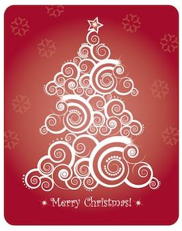 Christmas card with abstract christmas tree