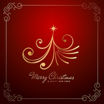 Марочные творческий рождественский дизайн дерева в золотистый цвет