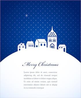 밤에 마을의 개요와 함께 크리스마스 카드. 포스터, 배너 또는 인사말 카드 배경