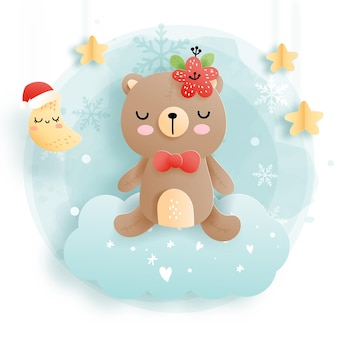 雲の上の赤ちゃんクマとクリスマスカード、森のクリスマス