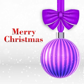 Christmas card with beautiful striped violet christmas ball