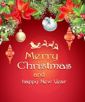 Новогодняя открытка с ветками елки, игрушечным барашком, шишками