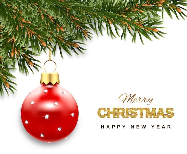 Новогодняя открытка с ветками елки и елочной игрушкой