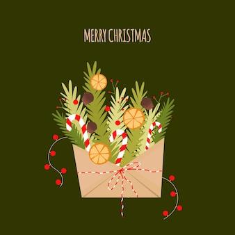 봉투에 크리스마스 나무의 가지와 크리스마스 카드. 플랫 스타일의 편지에서 새해 꽃다발
