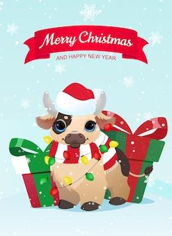 Рождественская открытка с мультяшным быком и подарочными коробками.