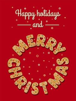 동그라미에 빨간색 배경 메리 크리스마스 문구에 크리스마스 진저와 크리스마스 카드
