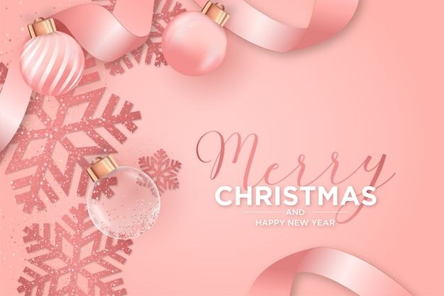 Christmas card with christmas pink decoration