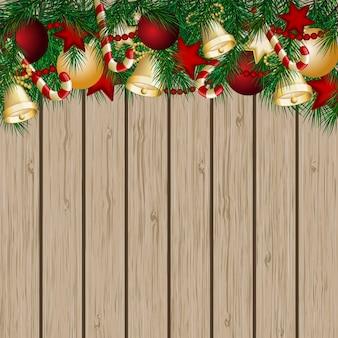 クリスマスツリーの枝とボールのクリスマスカード