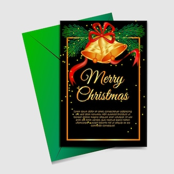 Christmas card with christmas tree and jingle bells gold