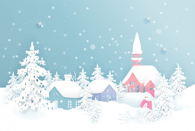 Christmas card with christmas village and falling snow