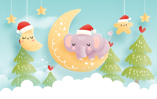 구름과 아기 동물이 있는 크리스마스 카드 아기 첫 크리스마스 축하
