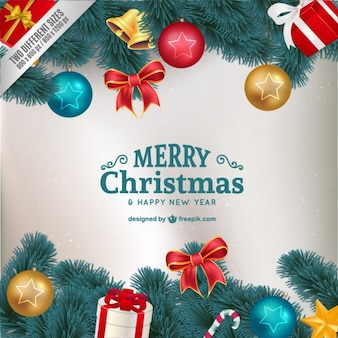 Christmas card with colorful ornaments Free Vector