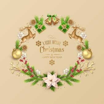 松の枝で作られた構成のクリスマスカード