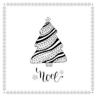 Christmas card with creative christmas tree. vector doodle illustration with lettering.