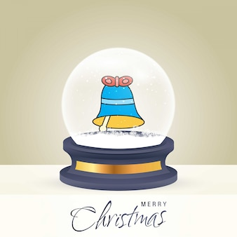 Рождественская открытка с творческим элегантным дизайном и глобусом также с золотым фоном