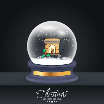 Christmas card with creative elegant design and globe also with dark background vector