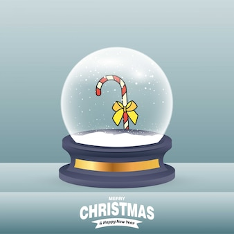 Christmas card with creative elegant design and globe also with grey background vector