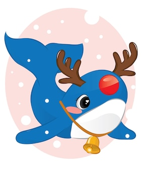 Christmas card with cute baby whale in deer headband