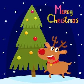 Рождественская открытка с милым мультяшным оленем. мультипликационный персонаж животных
