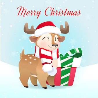 Christmas card with cute deer and gift box
