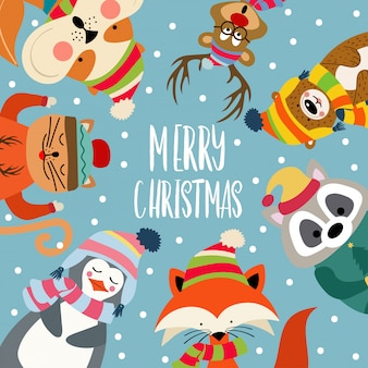 Рождественская открытка с симпатичными одетыми животными и пожеланиями