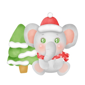 Christmas card with a cute elephant in watercolor style.