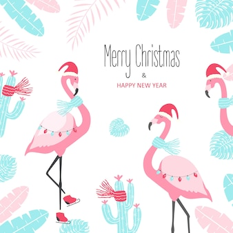 白い背景の上のかわいいフラミンゴとクリスマスカード。