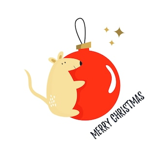 귀여운 재미 있는 마우스와 함께 크리스마스 카드입니다. 연말연시 인사