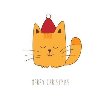 Рождественская открытка с милым котенком рыжего кота в красной шапке санта-клауса