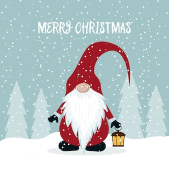 Christmas card with cute gnome