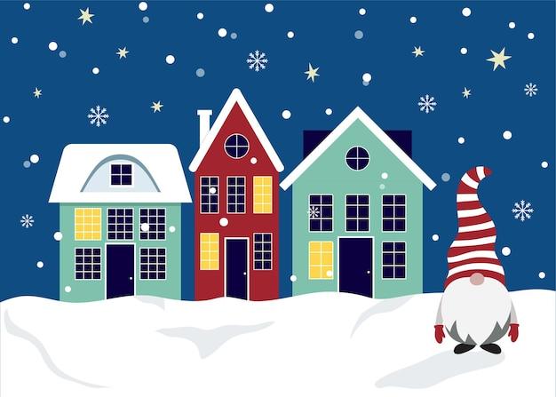 귀여운 집과 크리스마스 그놈이 있는 크리스마스 카드