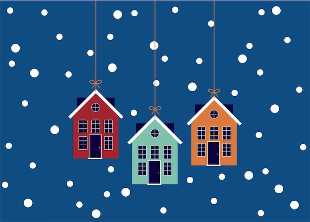 귀여운 집들이 있는 크리스마스 카드