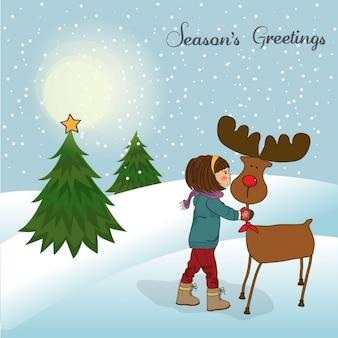 Christmas card with cute little girl caress a reindeer
