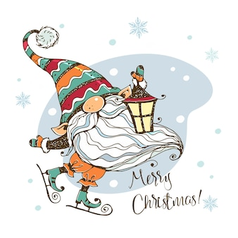 Christmas card with a cute nordic gnome with a lantern who skates