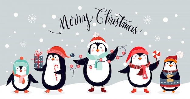Christmas card  with cute penguins isolated on an winter background