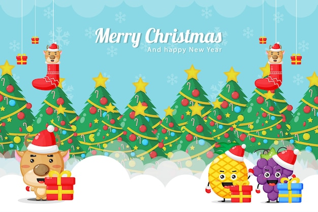 Christmas card with cute reindeer, pineapple and grape mascots in christmas costumes