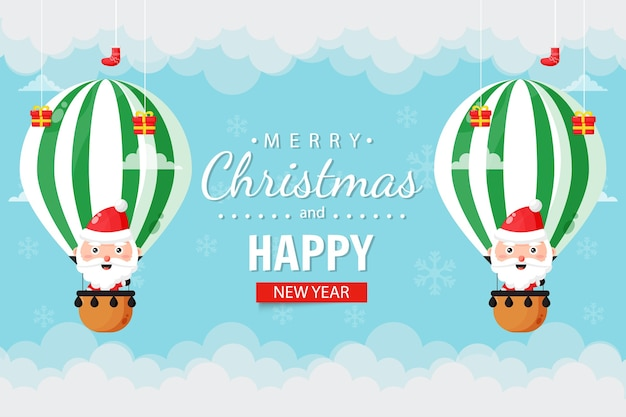 Christmas card with cute santa claus flying in a hot air balloon
