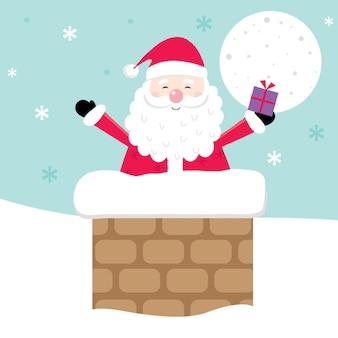 굴뚝 디자인에 귀여운 산타와 크리스마스 카드