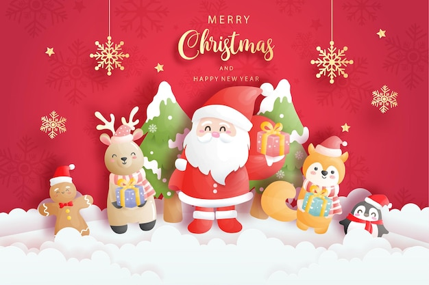 Christmas card with cute santa