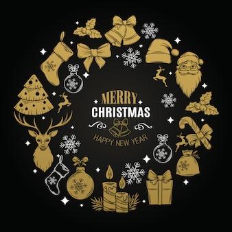 装飾的なアイコン付きのクリスマスカード
