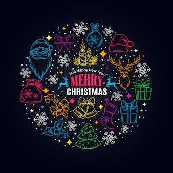 Christmas card with decorative icons