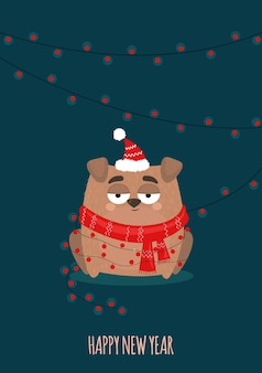Christmas card with dog in a scarf in flat  cartoon style