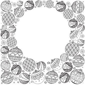 Рождественская открытка с нарисованными вручную праздничными воздушными шарами, украшенными рисунком каракули и местом для текста для вашего творчества