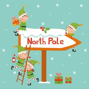 Christmas card with elves and north pole sign.