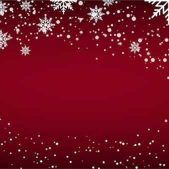 Christmas card with falling snow or snowflakes